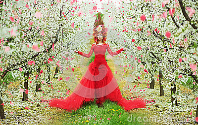 Lady Spring walking during the petal rain