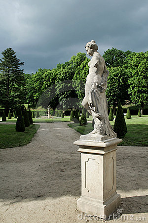 Lady statue in french garden
