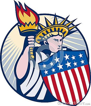 Lady statue of liberty torch shield