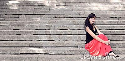 Lady on steps