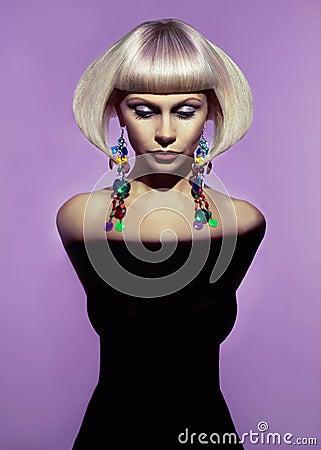 Lady with stylish hairdo