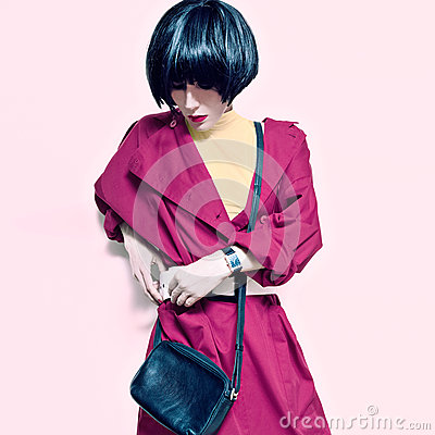 Lady in trendy vintage coat Stock Photo