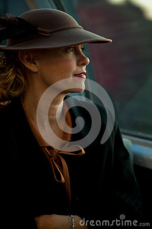 Lady at the Troop Train Editorial Image