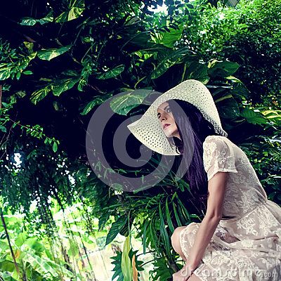 lady in the tropical jungle
