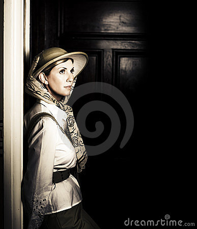 Lady In Vintage Attire At Night