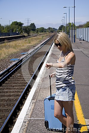Lady waiting for train