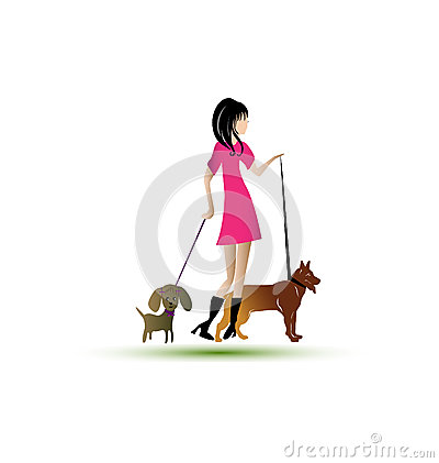 Lady walking dogs logo