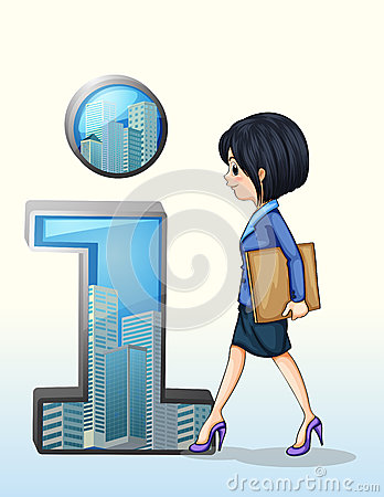 A lady walking towards the number one symbol
