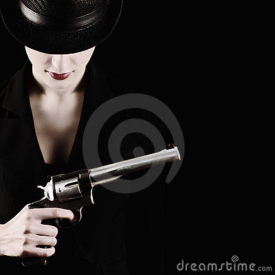 Free Lady With A Revolver Stock Photography - 20111882