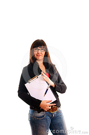 Lady with with writing pad