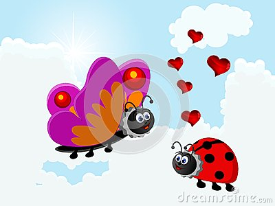 Ladybird and butterfly