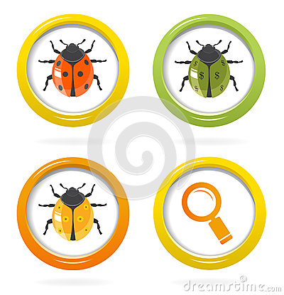 Ladybird glossy icon in colorful bubbles