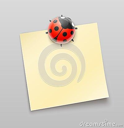 Ladybird magnet pin on sheet