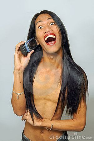 Ladyboy calling with big smile