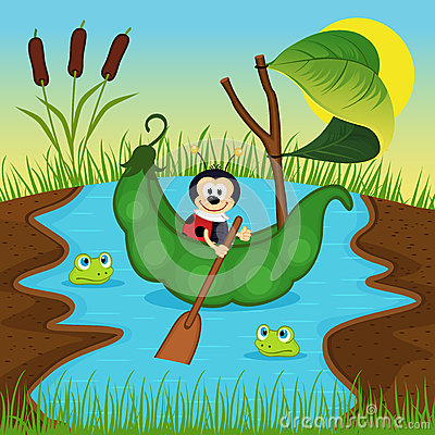 Free Ladybug Floats On Peas On River Stock Images - 51942544