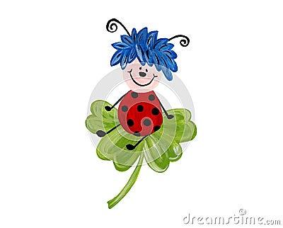 Ladybug On Leaf, Isolated On