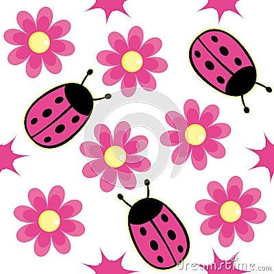 Ladybug and pink daisy