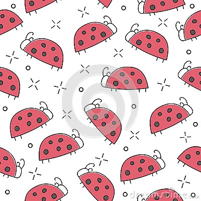 Free Ladybug Seamless Pattern, Abstract Texture. Vector Art Illustration Royalty Free Stock Images - 119076229