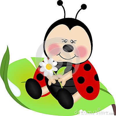 Scalable vectorial image representing a ladybug sitting on a green ...