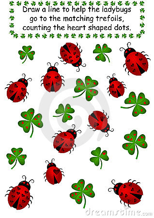 Ladybugs and Clovers - Count the dots