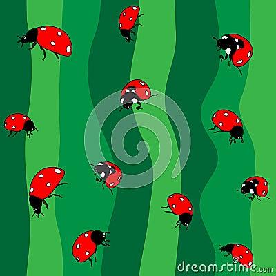 Ladybugs on green. Seamless