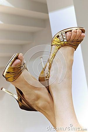 Lady's feet on high heel