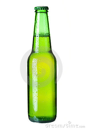 Lager beer in green bottle
