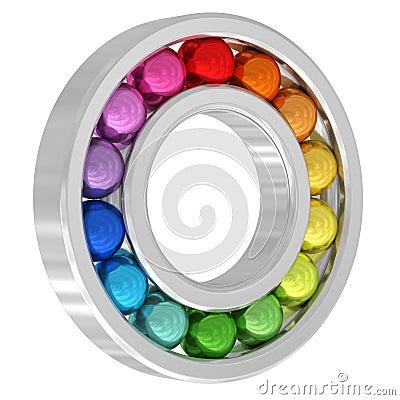 Lager med färgrika bollar