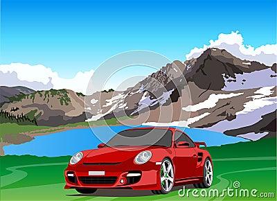 Lago del coche y de la montaña Foto editorial