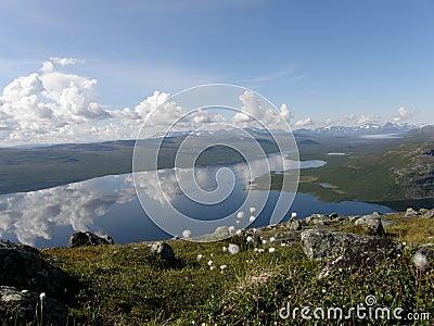 Lago Kilpisjarvi da montanha de Saana, Lapland