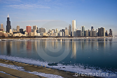 Lago Michigan congelado en Chicago