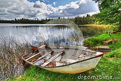 Lago sueco con los barcos
