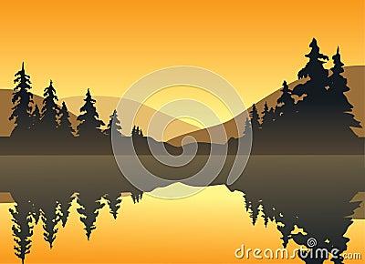 Lago tranquilo en la puesta del sol