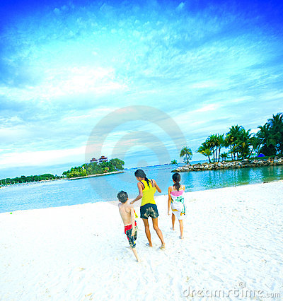 Lagoon beach family fun in tropics
