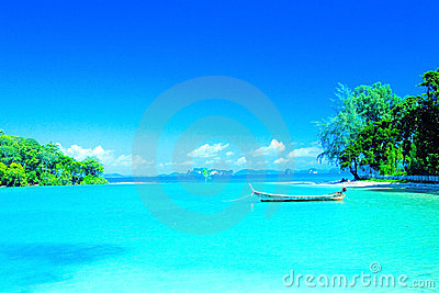 lagoon beach in resort bay of Krabi, Thailand.