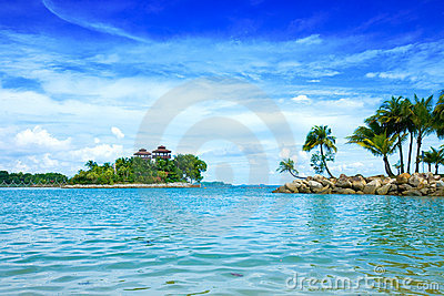 lagoon with beautiful sky in the tropics