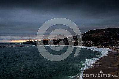 Laguna beach at dusk