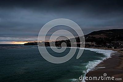 Laguna beach at dusk