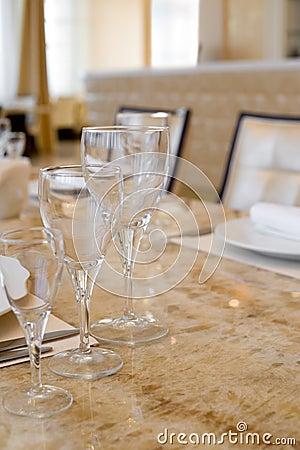 Laid restaurant table