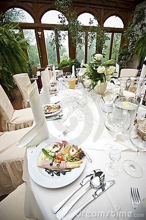 Laid wedding reception table