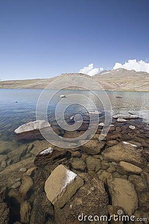Lake Aparan below mountain Aragac in Armenia