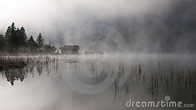 Lake with autumn-fog