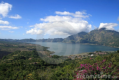 Lake Batur in the crater of the volcano, Indonesia
