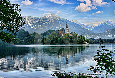 Lake Bled island with a church