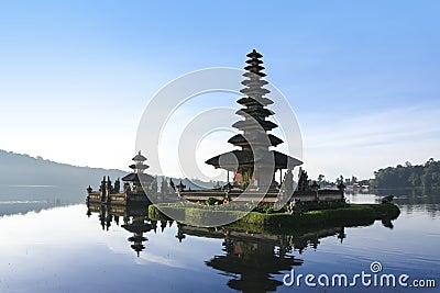 Lake bratan temple dawn bali indonesia