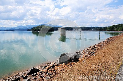 Lake Chatuge dam & Appalachian mountains