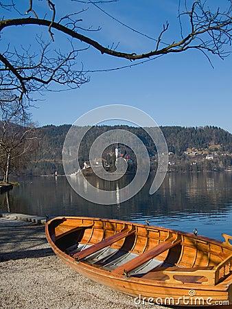 Lake with church on island