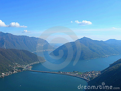 Lake and city of Lugano