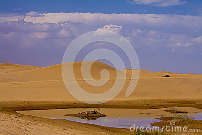 Lake in desert of china