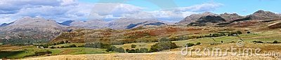 Lake district England in panorama